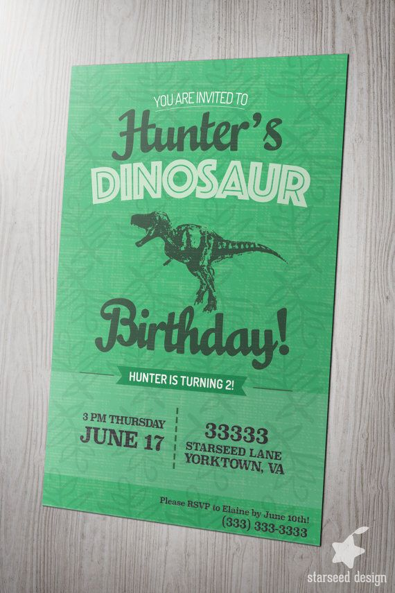 Dinosaur Dino Birthday Party Invitation Invite By StarseedDesignInc Pink Green Blue T Rex Kids Boy Or Girl Ideas