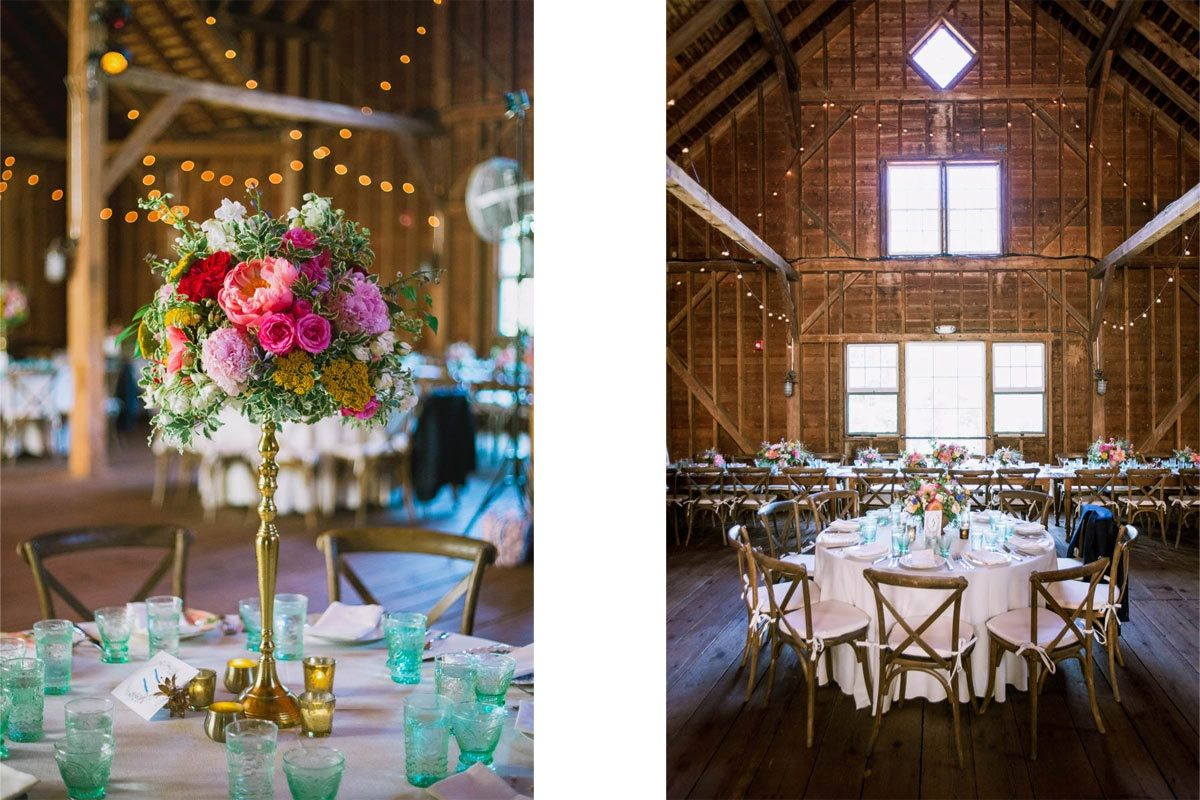Wow Our Rentals Really Pop Inside The Gorgeous Stonover Farm Barn For This Summer Wedding Catering Farm Wedding Photos Farm Wedding Massachusetts Wedding