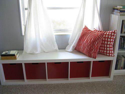 Ikea Bookshelf Turned Sideways For A Window Seat