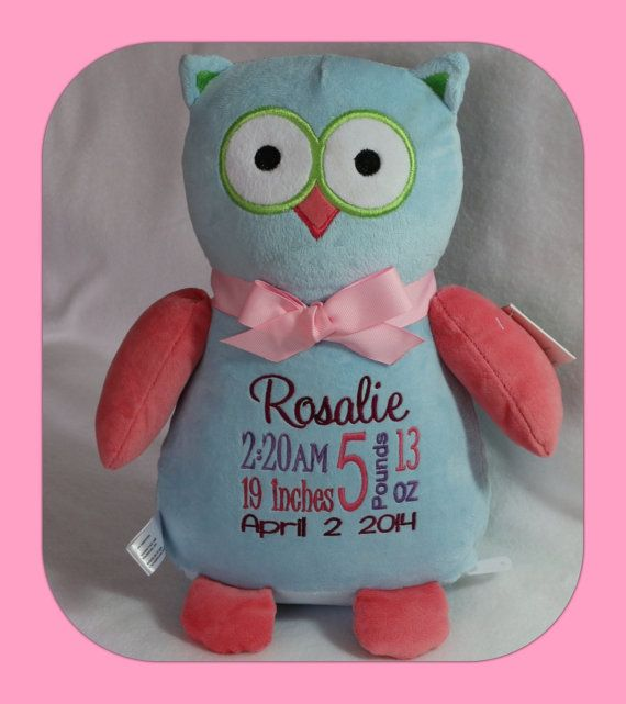 Personalized baby gift new born baby birth announcement owl personalized baby gift new born baby birth announcement owl keepsake childrens toy negle Gallery