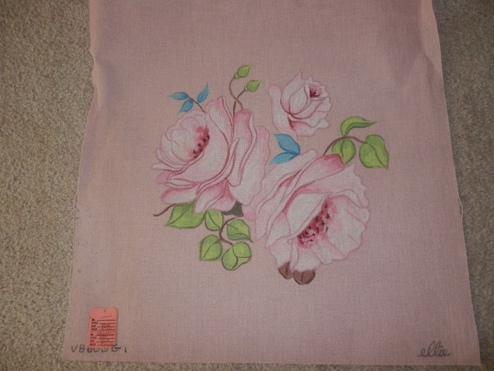 Hand Painted Needlepoint Canvas by Ellie - Flowers/Roses  VB 603G 18M #Ellie #HandPainted