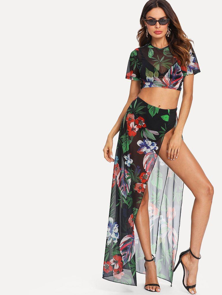 amazing price durable modeling classic fit Tropical Cover- Up Sheer Mesh Top & Skirt 2-Piece Set ...