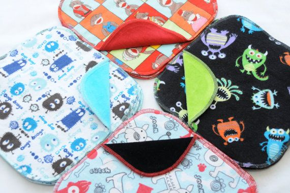 A whole stash of velour backed cloth wipes....if I only had a boy! www.cutelittlebugs.com
