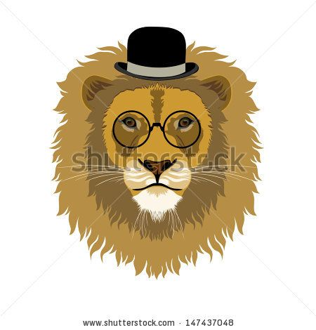 Portrait of lion in bowler hat and vintage glasses, retro look - stock vector