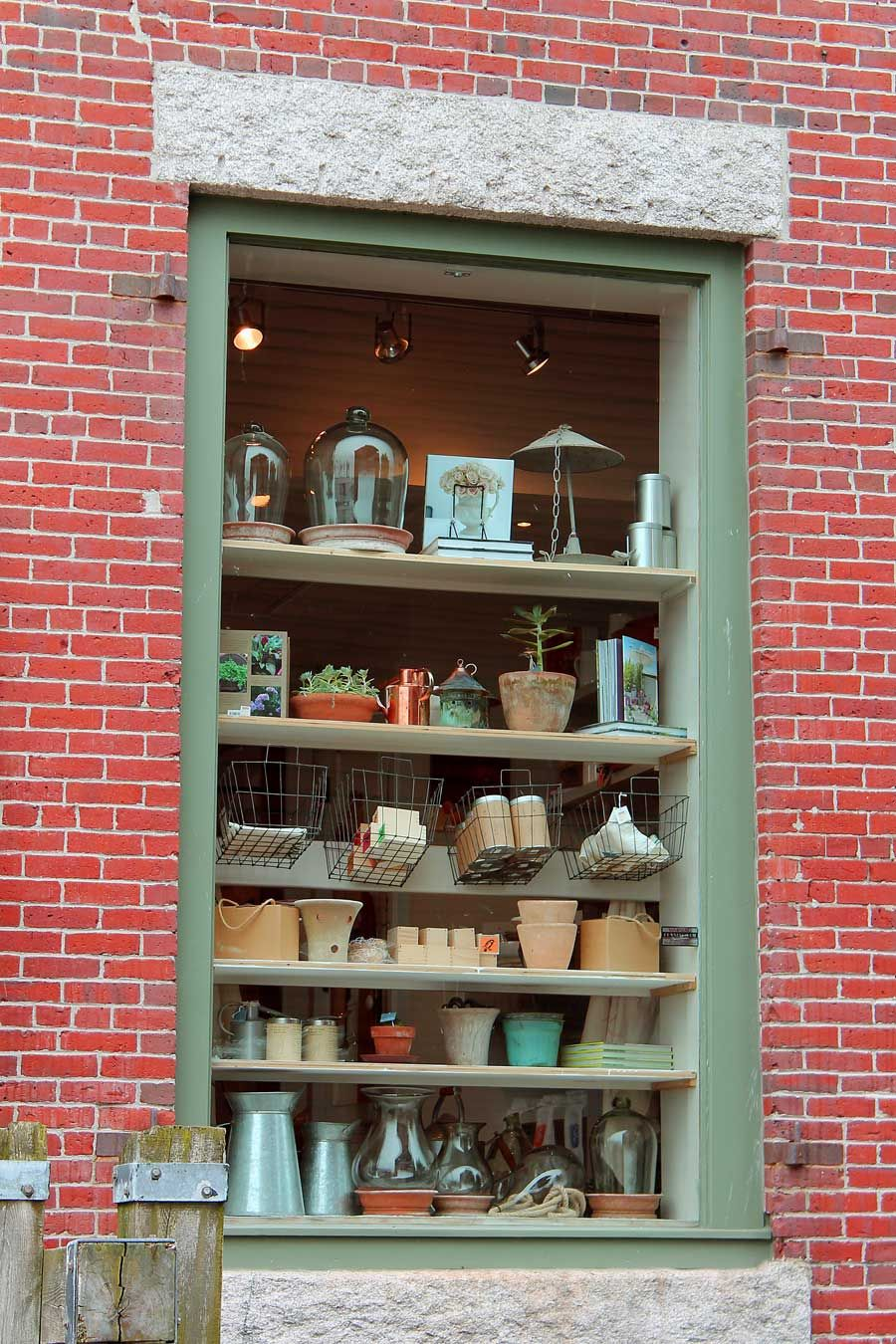 Old Port Wares. The back of one of the shops in the Old Port Exchange in Portland's waterfront provided as much of an enticing shop window as the storefront. Portland, Maine. http://fineartamerica.com/art/all/elizabeth+rains-johnson/all