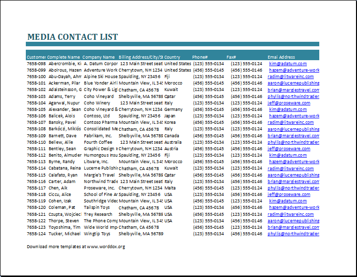 Emergency Contact List Template At Xltemplates.org | Microsoft Templates |  Pinterest | Template And Sample Resume  Contacts Template Word