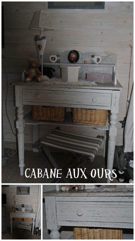 relooking de meuble, esprit shabby, table de toilette ancienne