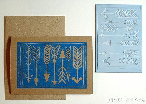 Arrows Blank Greeting Card Hand Printed Block Print Relief Print By Honeysucklelane 5 00 Hand Of Cards Blank Greeting Cards Relief Print