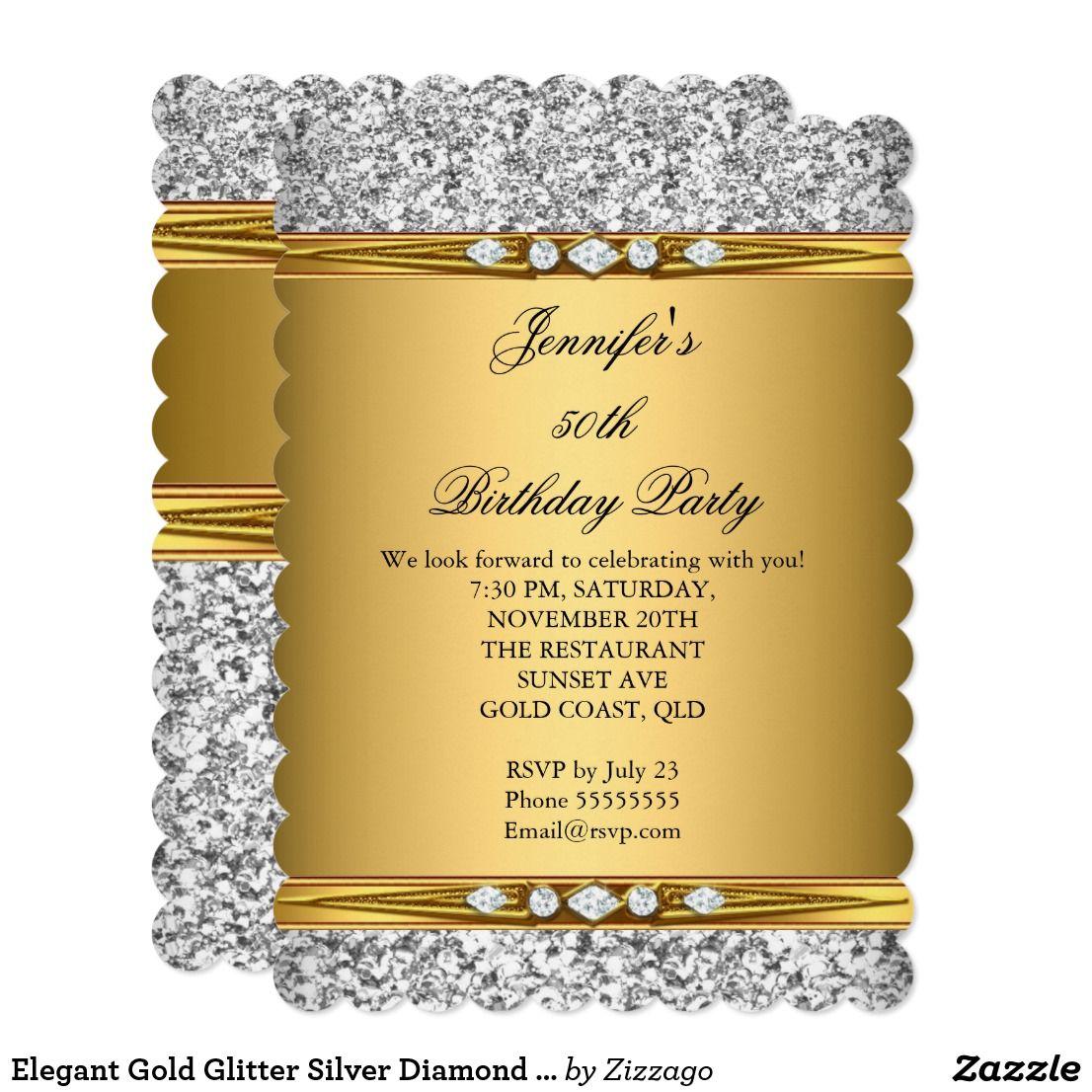 Elegant gold glitter silver diamond birthday party card elegant gold elegant gold glitter silver diamond birthday party card elegant gold glitter silver diamond birthday party gold womans girl invitation formal stopboris Choice Image