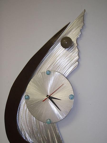 Emactime Abstract Clock Design In Cool Contemporary Copper Color Brushed Aluminum Mixed Media 24 Large Metal Wall Clock Clock Wall Art Sculpture Clock