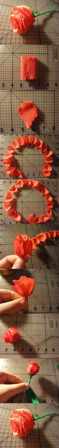 DIY Easy Crepe Paper Rose   iCreativeIdeas.com Like Us on Facebook ==> https://www.facebook.com/icreativeideas
