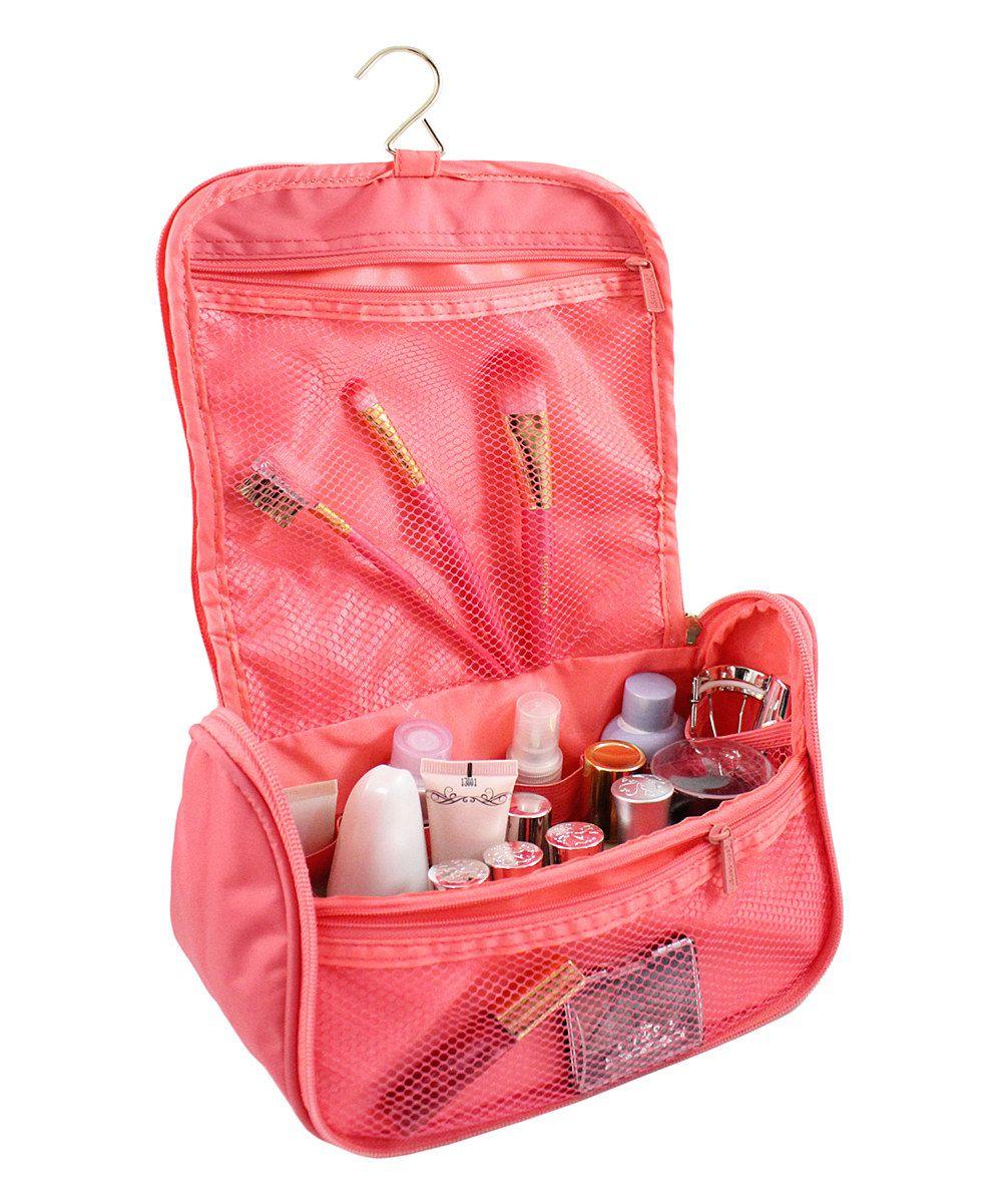 Pink Floral Hanging Travel Bag