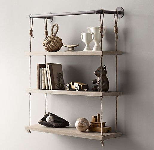 Industrial pipe rope shelf wall storage restoration for How to make a rope wall
