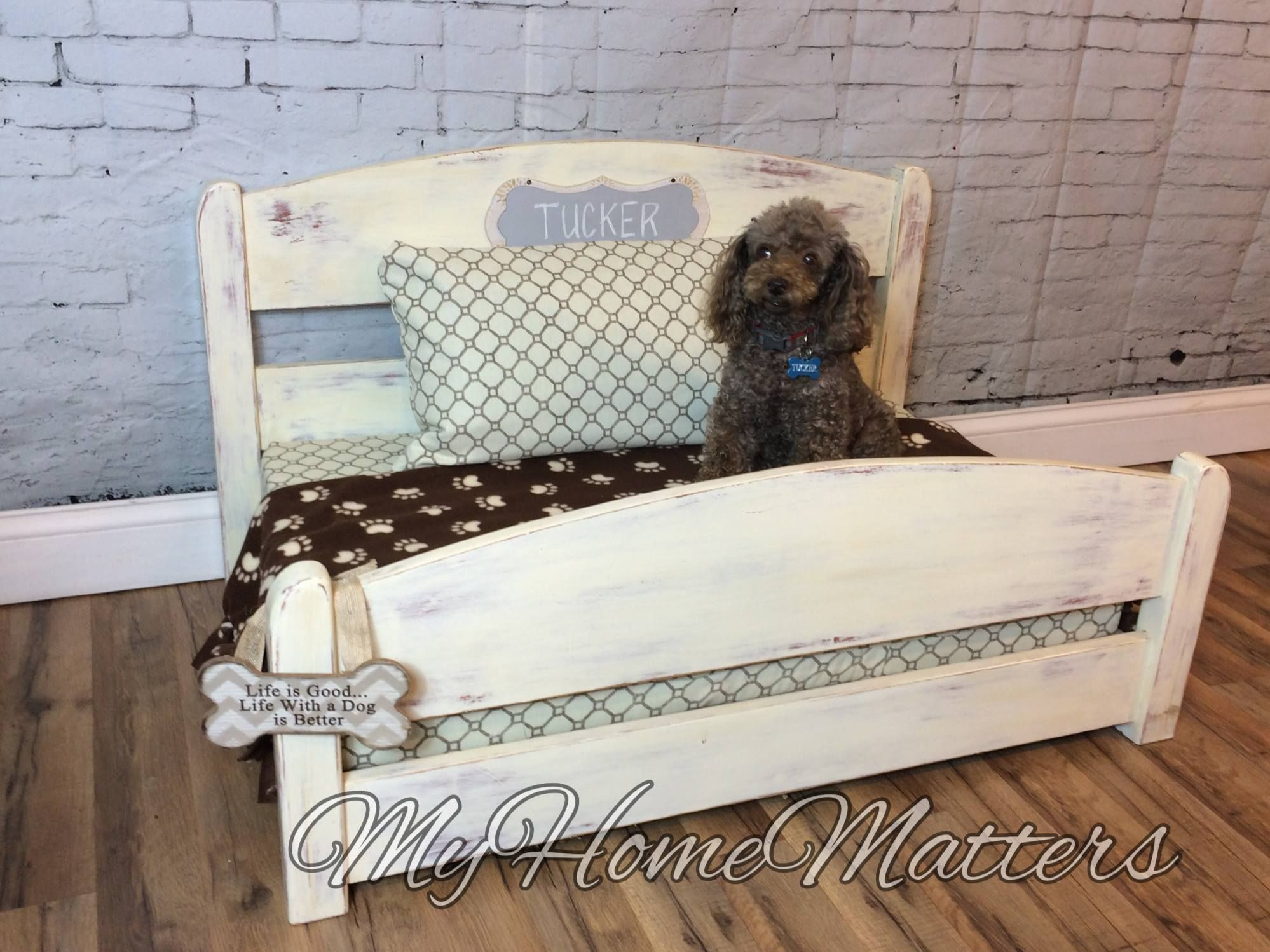 Upcycled Or Repurposed Dog Or Pet Bed Made From A Twin Headboard And Footboard Repurposed Headboard Dog Bed Furniture How To Make Bed
