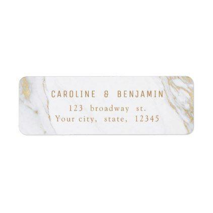 gold marble luxury modern wedding return address label gold marble