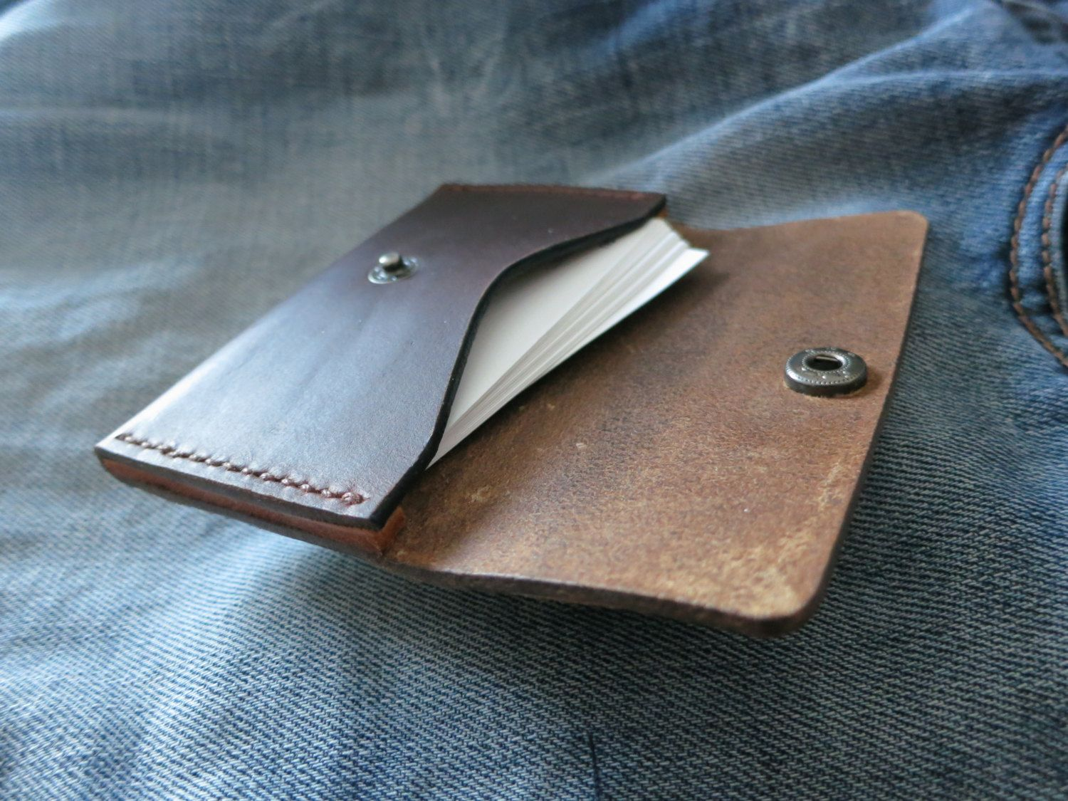 Brown Horween Leather Business Card Holder Leather by TQleather ...