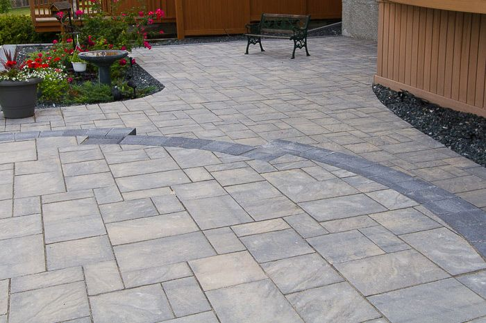 sierra grey navarro pavers with charcoal pisa walls