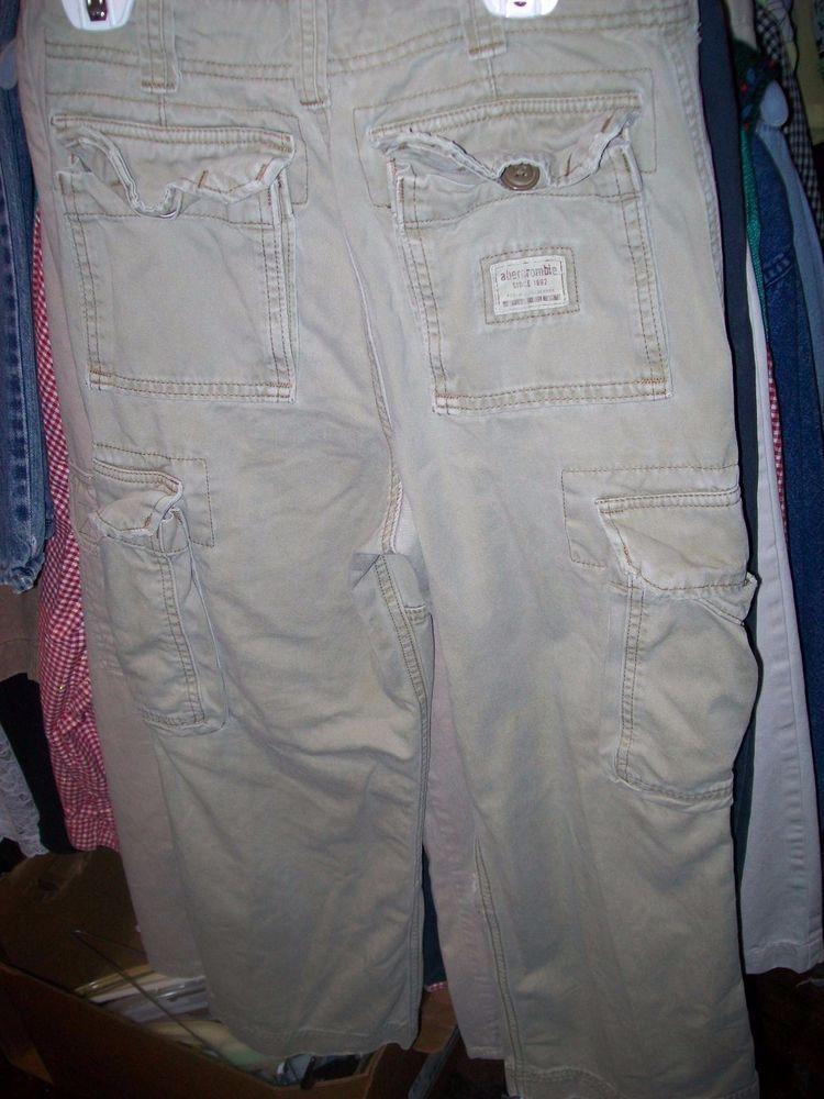 10 Slim Boys Abercrombie & Fitch Cargo Beige 100% Cotton Khakis Pants #AbercrombieFitch #CargoCombat