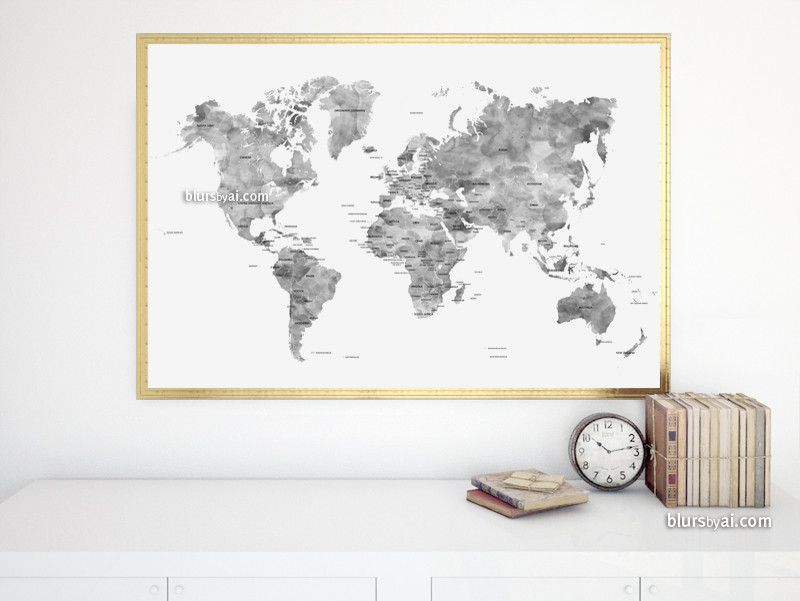 Gray watercolor printable world map with country names large 36x24 gray watercolor printable world map with country names large 36x24 gumiabroncs Image collections