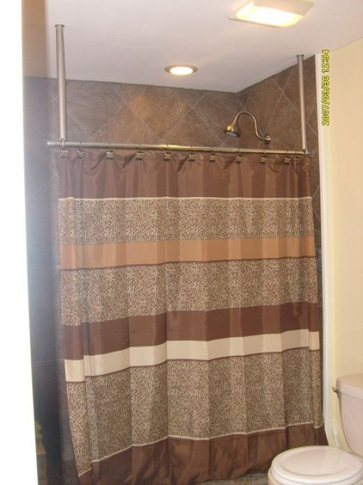 How To Build A Ceiling Mounted Shower Curtain Hanger Rod Shower Rod Shower Curtain Shower Curtain Rods