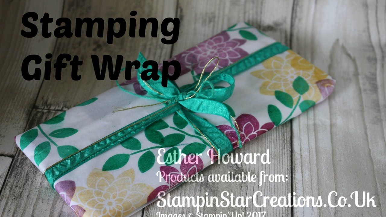 Stamping up, gift wrap on tissue paper with Crazy for you, Esther from S...