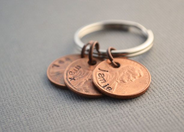 Family Penny Keychain Hand Stamped Established Family Keychain by TheCopperFox. $13.00, via Etsy.