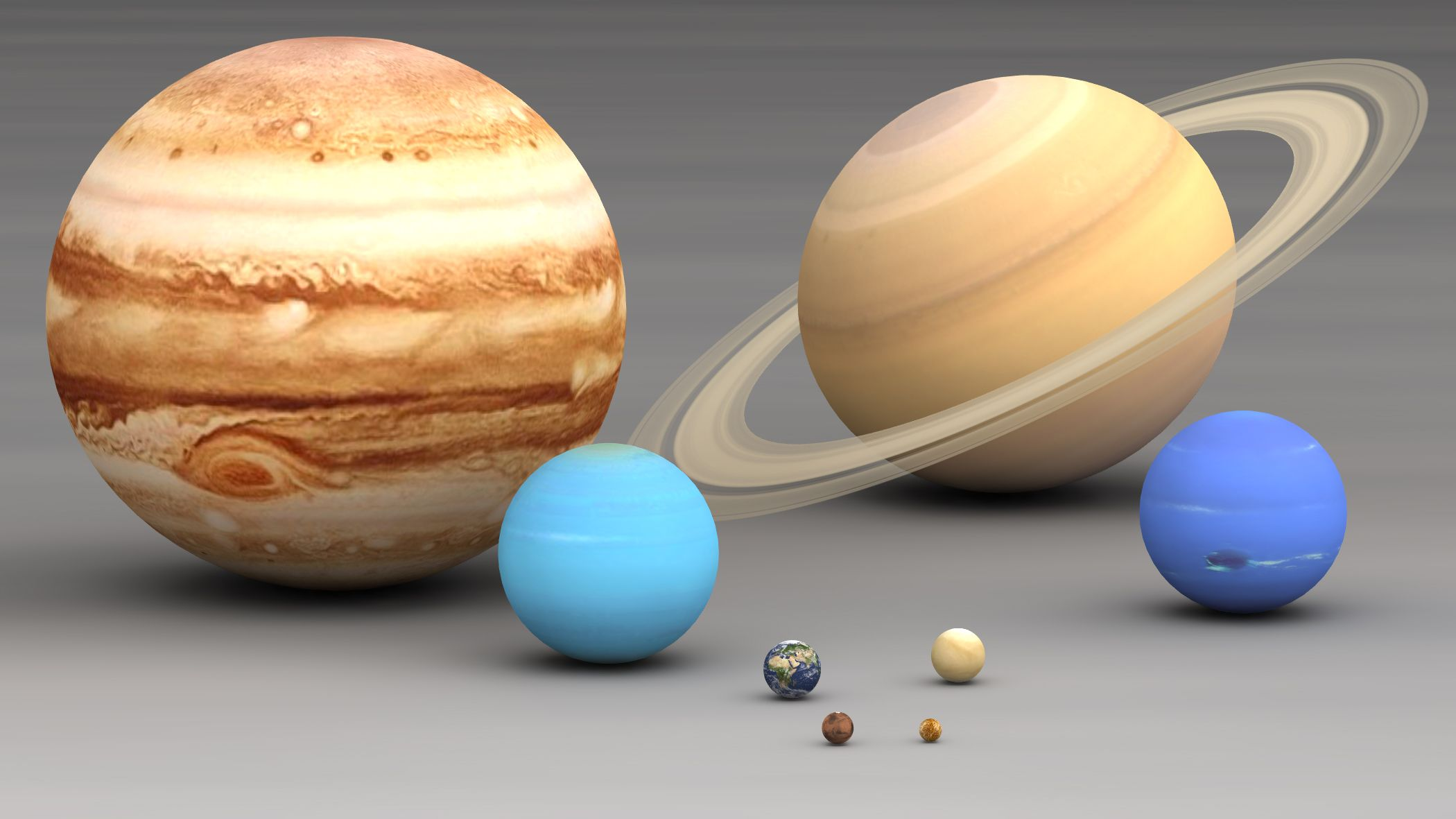 Solar system planets size comparison. Largest to smallest are ...