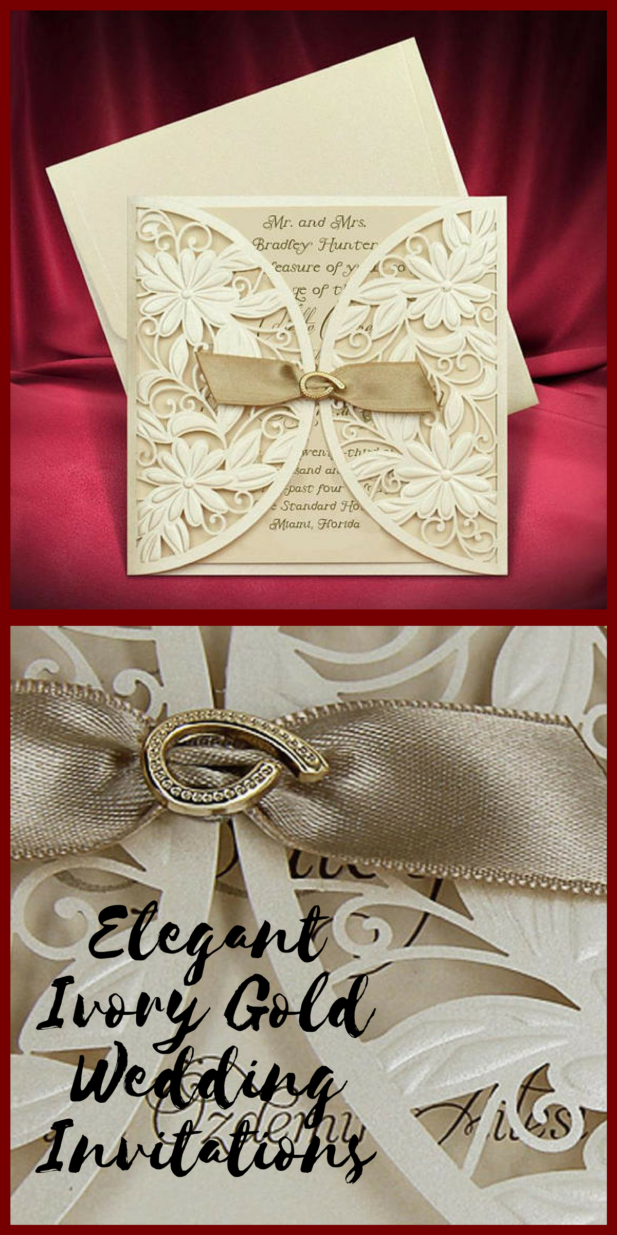 Laser Cut Wedding Invitation, Ivory Gold Invitation with Brooch and ...