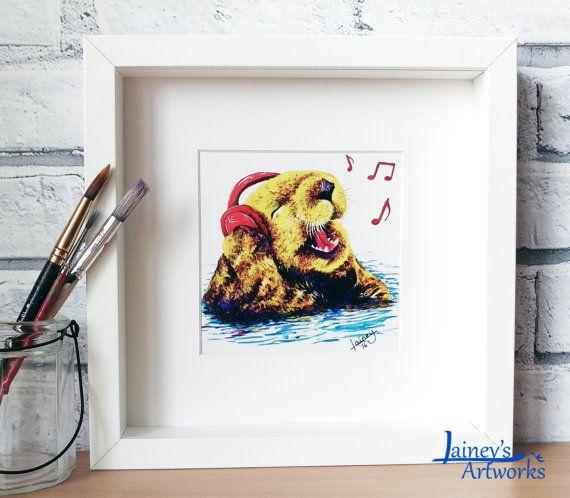 Otter PRINT of my original singing otter acrylic painting. Image ...