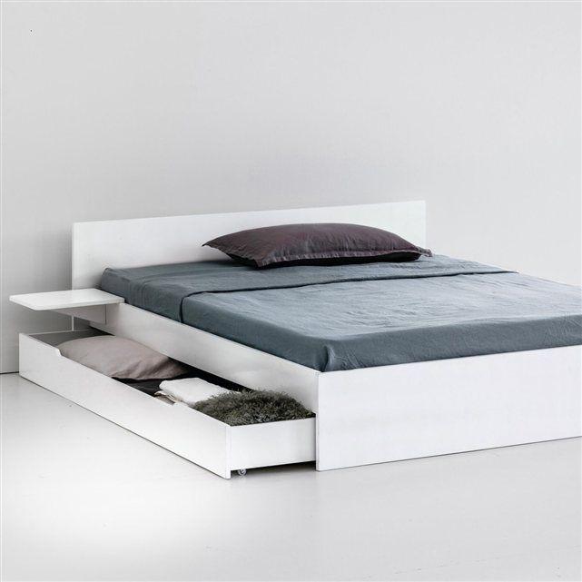 Lit Avec Sommier Tiroir Et Tablettes Crawley Bed Furniture Design Bedroom Bed Design Bed Furniture