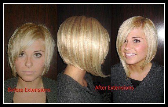 16a6fc157324660cb649cfa9874d36c0 Jpg 550 350 Hair Extensions For Short Hair Hair Extensions Before And After Short Hair Styles