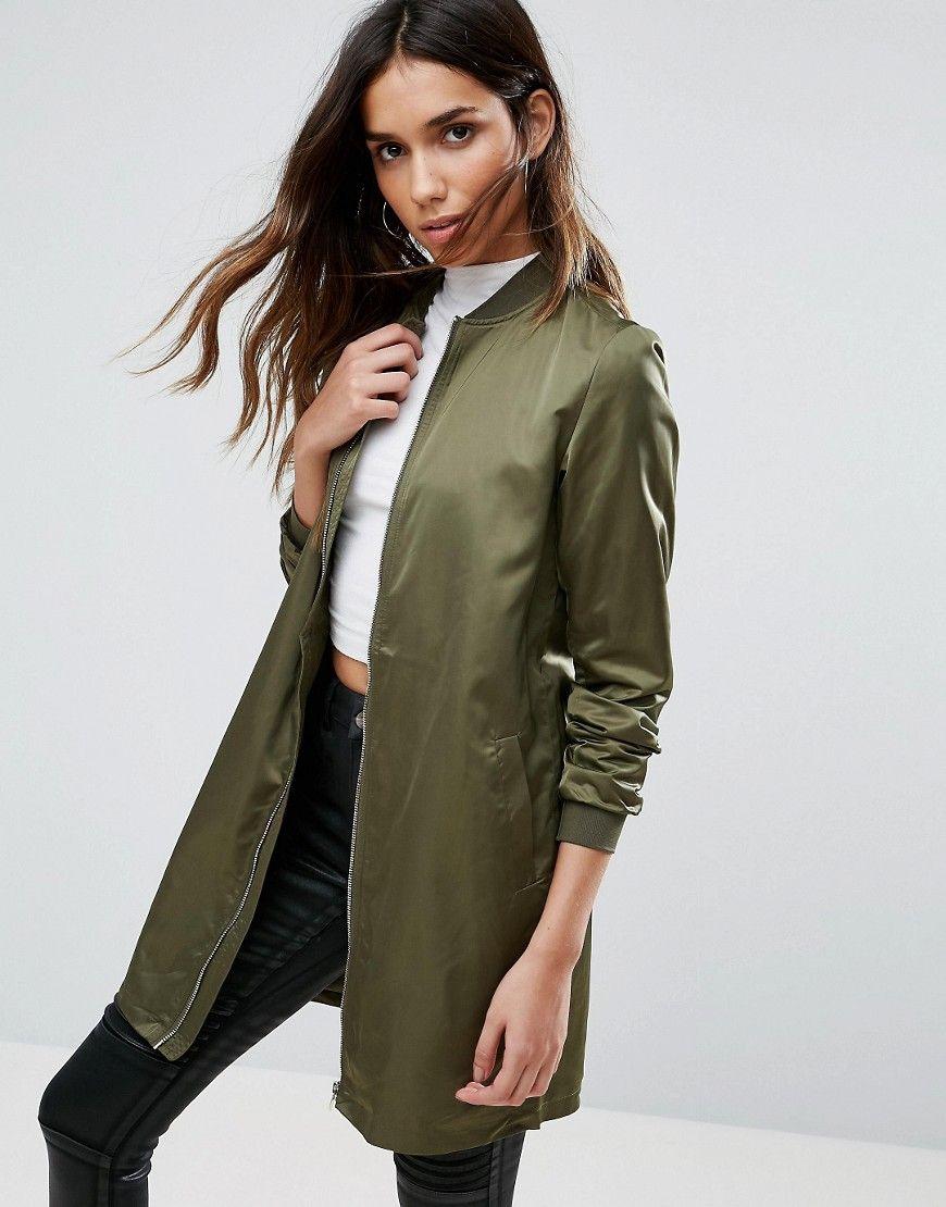 Vila Longline Bomber Green Bomber Jacket Women Longline Bomber Jacket Jackets For Women [ 1110 x 870 Pixel ]