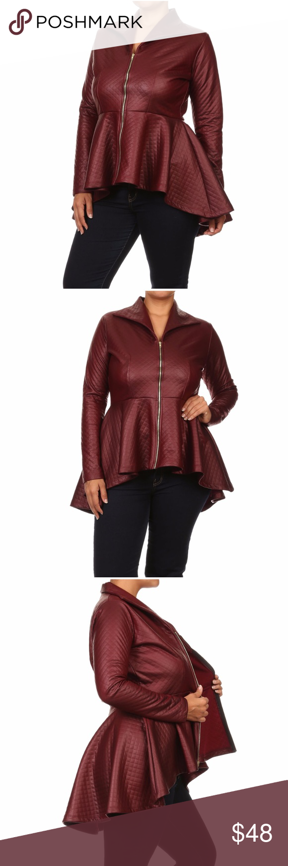 Plus Burgundy Faux Leather Hi Lo Peplum Jacket Top