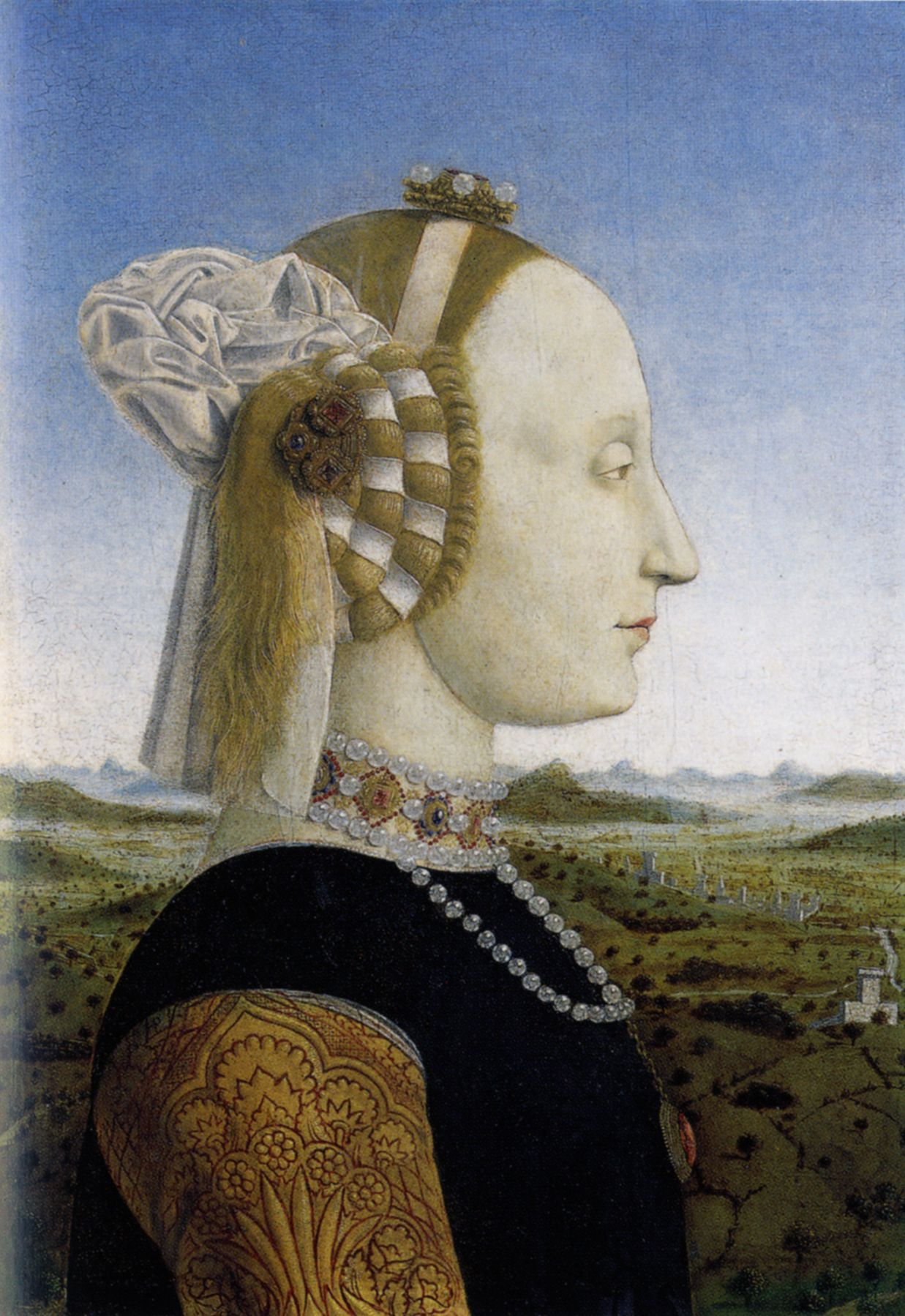 Piero Della Francesca Portrait Of Battista Sforza 1447 72 Duchess Of Urbino Uffizi Firenze Renaissance Paintings Renaissance Portraits Renaissance Art