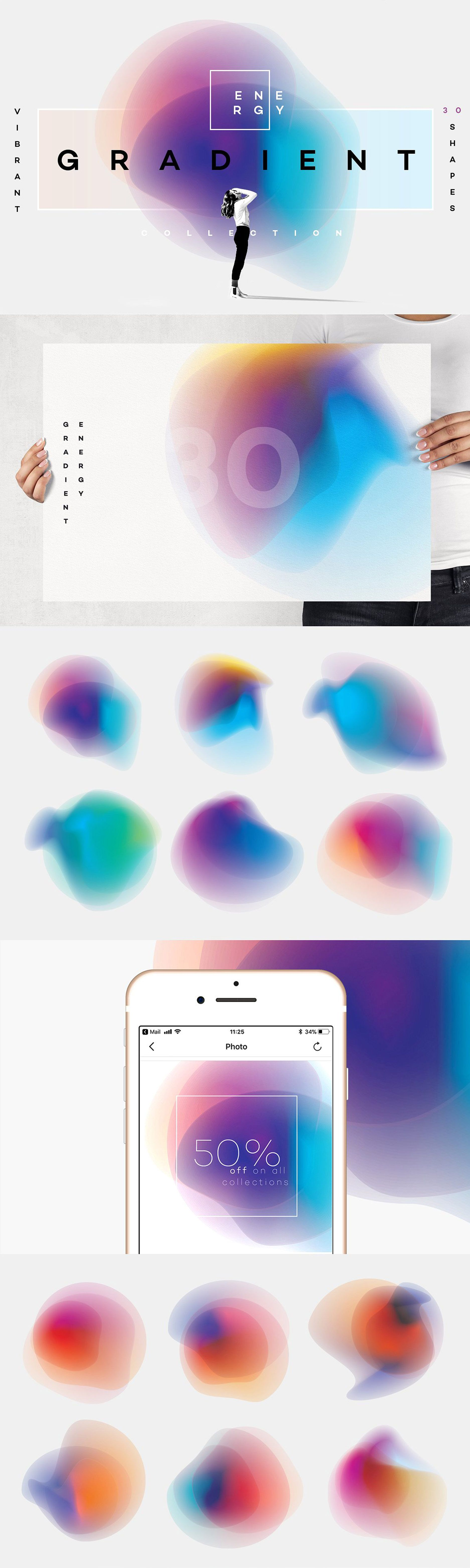 Gradient Energy  20 vibrant shapes   Raster image, Shapes, Vibrant