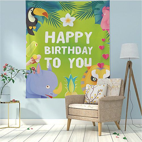 Cartoon Wall Tapestry Art Decor Blanket Curtain Hanging Home Bedroom Living Room Decoration Polyester Happy Birthday