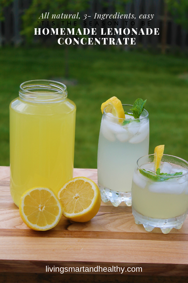 Homemade Lemonade Concentrate - All natural, 3-ingredients, super easy, homemade lemonade concentrate. Make it once and enjoy fresh lemonade year round!! #homemadelemonaderecipes