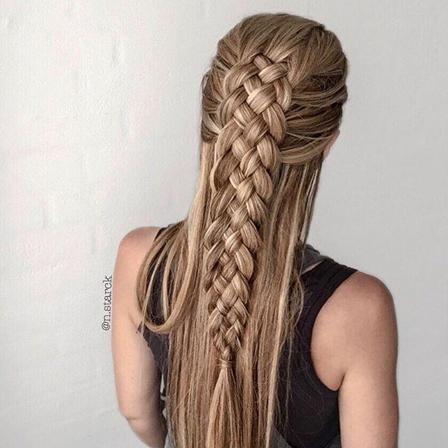 Hairinspiration On Instagram Half Up Half Down Five Strand Geflochtene Frisuren Coole Frisuren Zopffrisuren