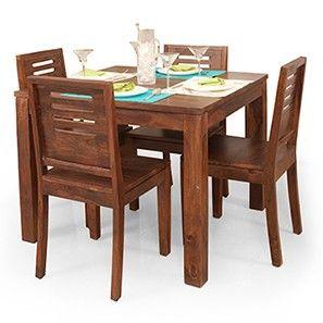 Arabia Square Capra 4 Seat Dining Table Set Teak Finish