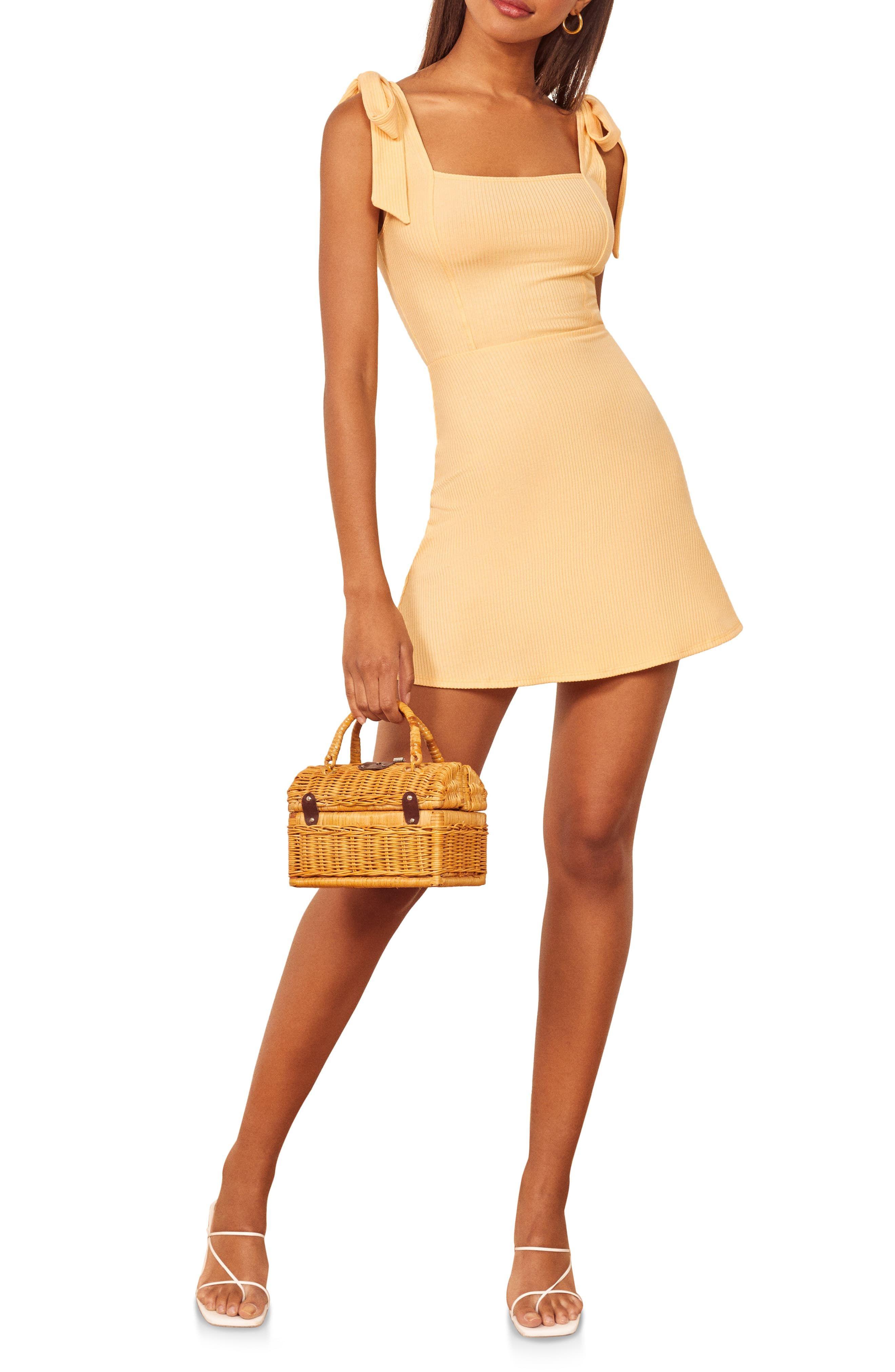 Reformation Reformation Liz Tie Shoulder Minidress Mini Dress Fashion Clothes Women Reformation Dress [ 4048 x 2640 Pixel ]