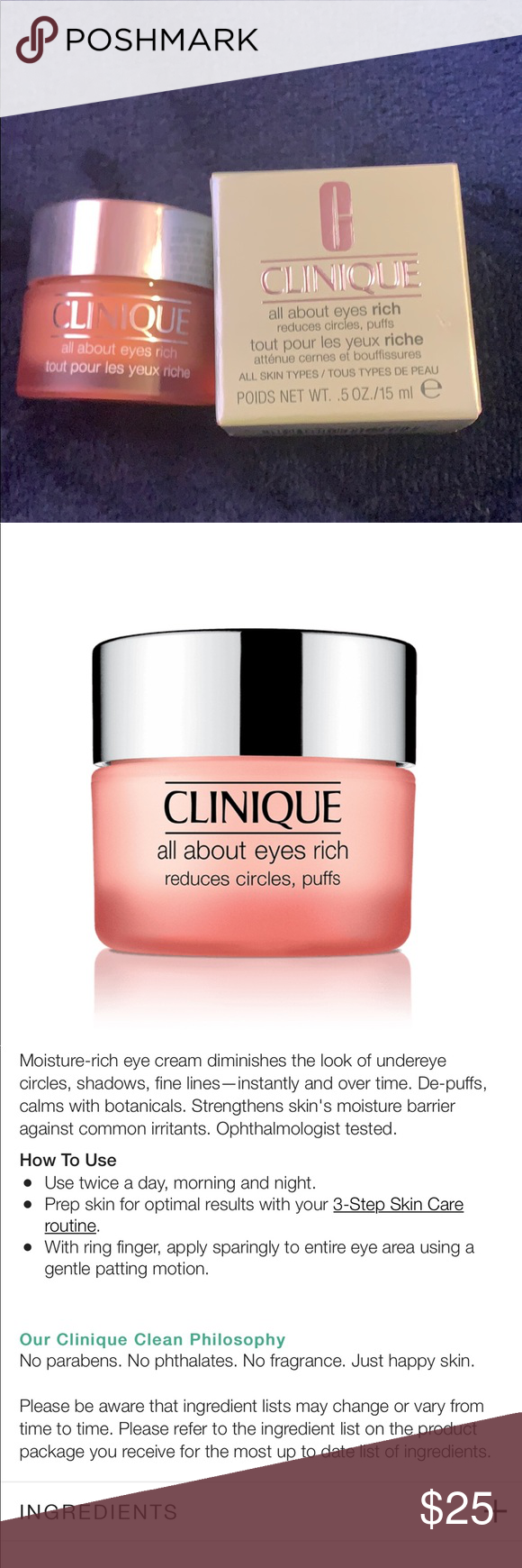 Clinique All About Eyes Rich Clinique Eye Cream Clinique All About Eyes