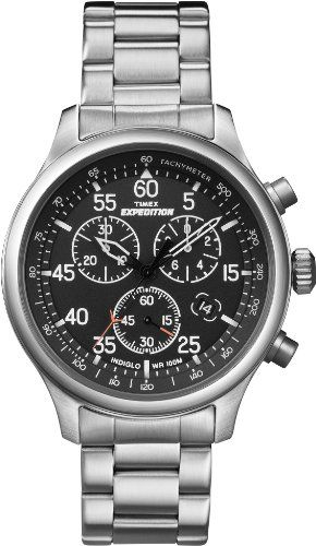 6cf474ade75c Timex Men s T49904 Expedition Rugged Field Chronograph Black Dial  Silver-Tone Stainless Steel Bracelet Watch