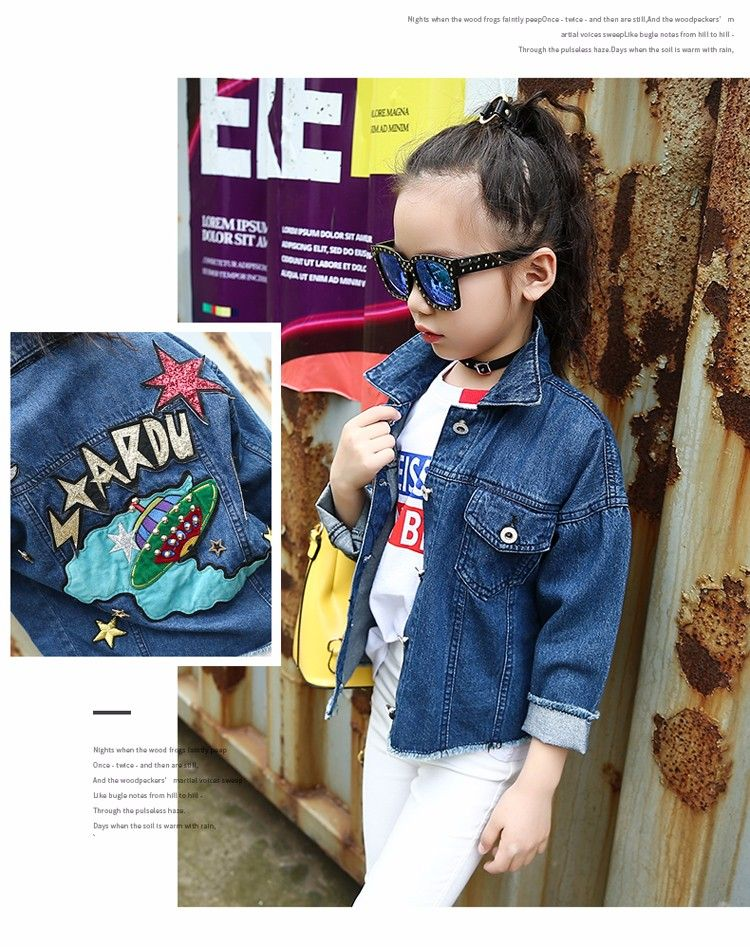 a44ab1f2ef F166237 2017 New Arrivals Kid Denim Overalls Korean Jacket Cartoon Patch  Embroidered Boutique Girl Clothing China Wholesale - Buy Kids Clothing