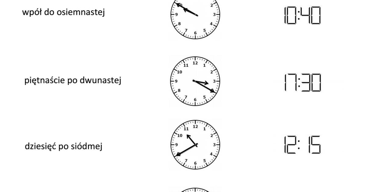 Zegar Karty Pracypdf Nauka Liczenia Pisanie Matematyka