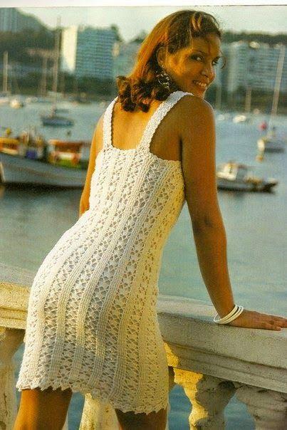 * MARA ARTES PINTURA *: vestido branco de alça em croche