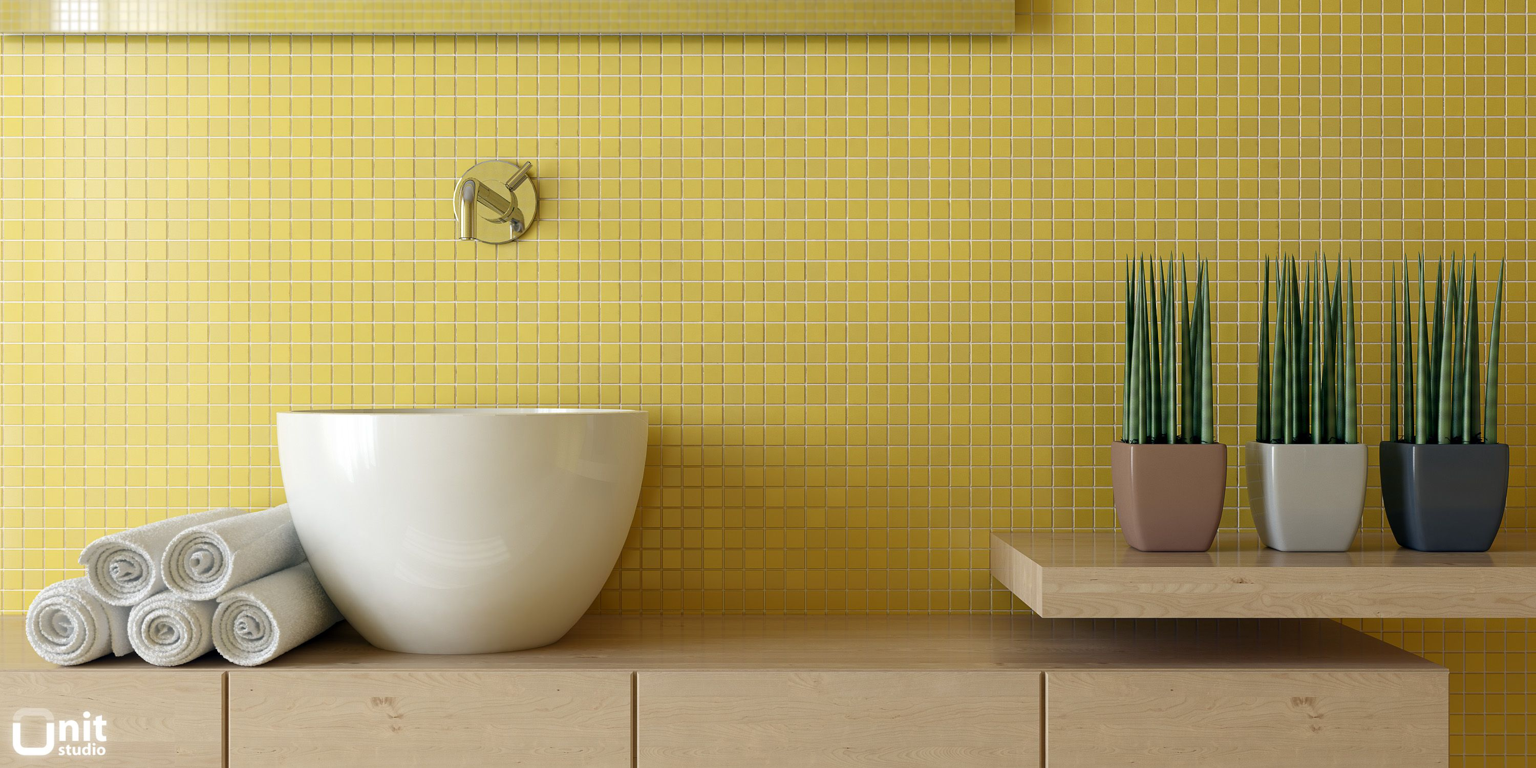 High Quality Yellow Mosaic Tiles Bathroom   Closeup Nice Design