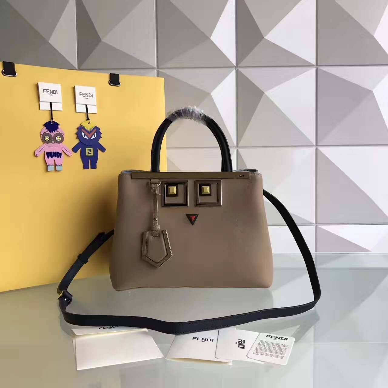 5086a317836c Fendi Calfskin 2Jours Bag With Metal Square Eyes Brown 2017