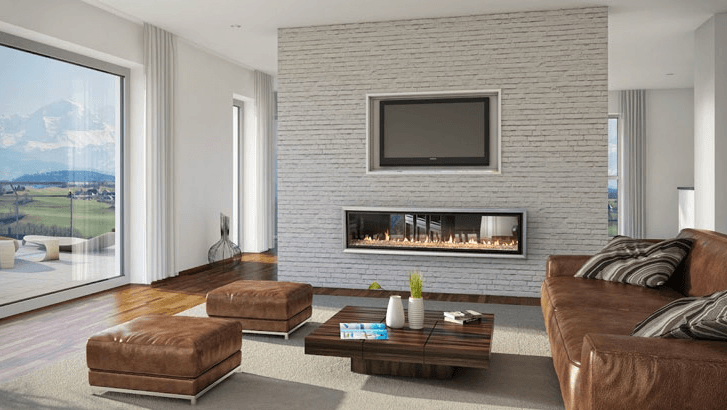 Freestanding Wood Heater In Front Of A Feature Wall Separating Main Living Area From Kitchen Dining Gas Fireplace Fireplace Design Fireplace