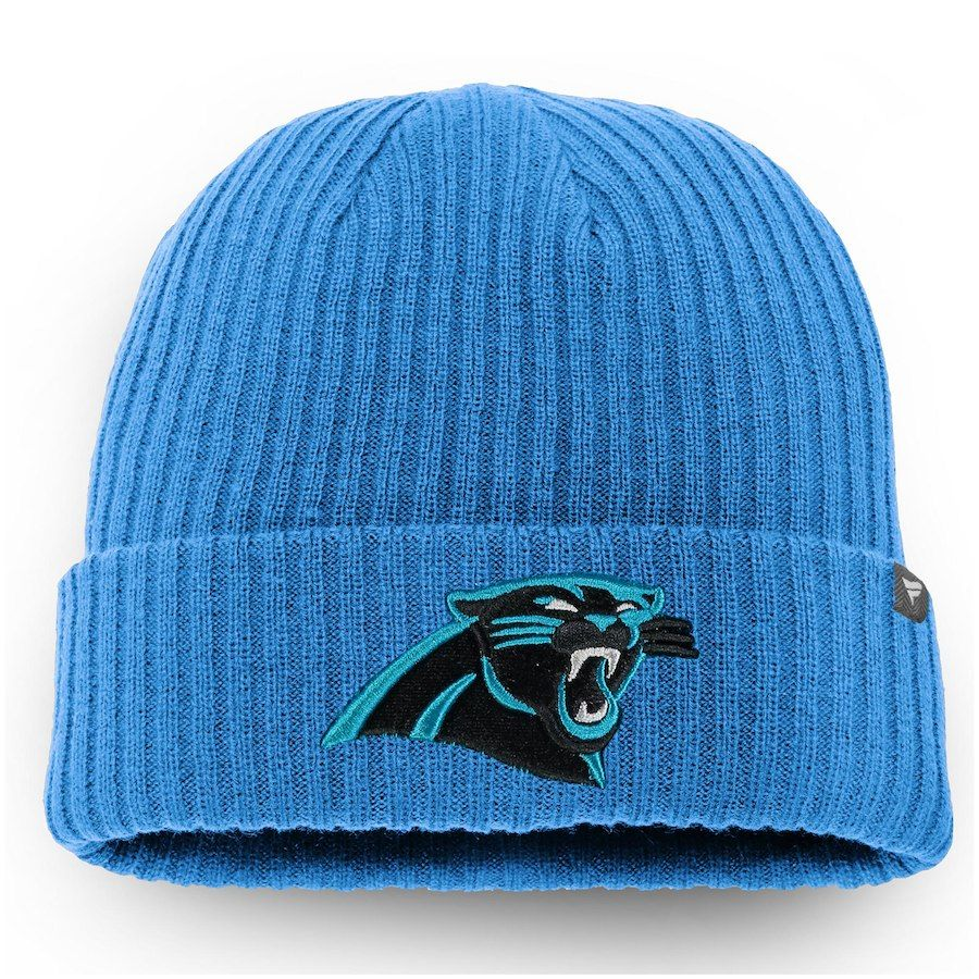 0875df691 Men s Carolina Panthers NFL Pro Line by Fanatics Branded Blue Core Elevated  II Cuffed Knit Hat