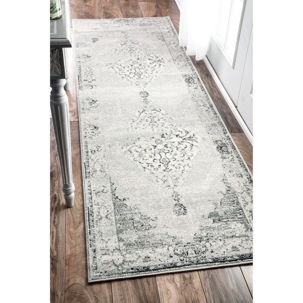 nuLOOM Traditional Abstract Vintage Light Grey Runner Rug (2'6 x 8')